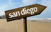 San Diego wooden sign with a beach on background