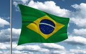 pic of bandeiras  - Brazilian Flag on sky background - JPG