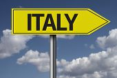 Concept for travel subject - Italy yellow sign