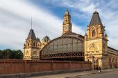 SAO PAULO, BRAZIL - AUGUST 31: External panorama of Luz Station in August 31, 2013 in Sao Paulo, Brazil.. The station is part of the metropolitan rail system ran by the CPTM
