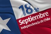Amazing flag with - September, 18 Independence of Chile - Dia 18 de Septiembre, Independencia de Chile