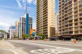 SAO PAULO, BRAZIL - October 13: Paulista Avenue on October 13, 2013, in Sao Paulo, Brazil. Paulista is one of the most important avenues in Sao Paulo with 2.8 kilometer of thoroughfare.