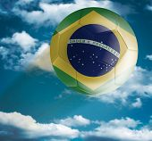 Brazilian Soccer ball flying over the the Sky