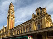 SAO PAULO, BRAZIL - AUGUST 31: External panorama of Luz Station in August 31, 2013 in Sao Paulo, Brazil. The station is part of the metropolitan rail system ran by the CPTM