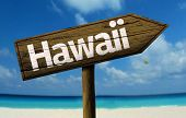 Hawaii wooden sign with a beach on background