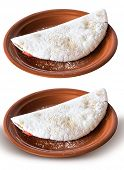 Delicious Tapioca, a brazilian snack made with cassava flour isolated on white background