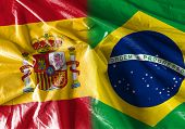 stock photo of bandeiras  - Flag symbolizing the relationship between Spain and Brazil  - JPG