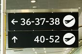 Airport Sign, Gate numbers