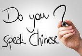 Do you speak Chinese hand writing with a black mark on a transparent board