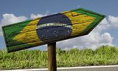 Brazil flag wooden sign on the road - Latin America