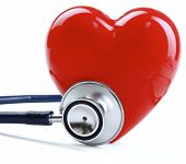 Stethoscope and heart, isolated on white background