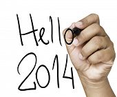 Hello 2014 hand writing with a black mark on a transparent board
