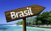 Brasil wooden sign with a beach on background