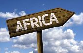 Africa wooden sign with clouds as the background
