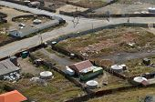 Rare yurts and backyards on the outskirts of Ulaanbaatar. Top view