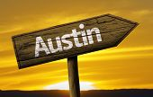 Austin wooden sign on a beautiful day
