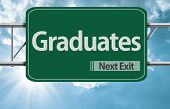 Graduates road sign on a beautiful day