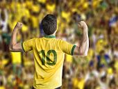 Brazilian soccer player celebrates with the fans