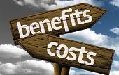 Benefits x Costs creative sign with clouds as the background