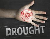 Educational and Creative composition with the message Stop Drought on the blackboard