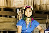 CHIANG MAI PROVINCE, THAILAND - CIRCA MAY 2014: Karen Long Neck woman posing for a portrait in hill tribe village near Chiang Mai, Thailand.