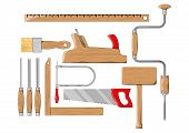 Carpenter tools. Color vector illustration.