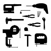 Power tools. Black silhouette vector illustration.