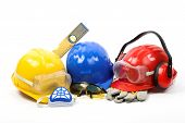 image of personal safety  - Safety gear kit close up over white - JPG