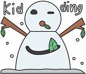 vector winter snowman face cartoon emotion expression joke