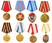 Collection Set Collage Of Russian Soviet Medals For Participation In Second World War On White Isola