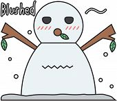 vector winter snowman face cartoon emotion expression shy
