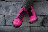pic of skinheads  - Nice pink punk alternative girl or woman Military skinhead shoes  - JPG