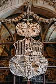 Schwarzenberg Coat-of-arms Made With Bones In Sedlec Ossuary (kostnice), Kutna Hora, Czech Republic