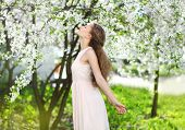 Spring Mood, Cute Girl Smell Flowering Tree, Enjoying Nature