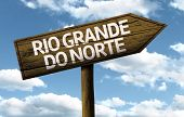 Rio Grande do Norte, Brazil wooden sign on a beautiful day