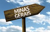 Minas Gerais, Brazil wooden sign on a beautiful day