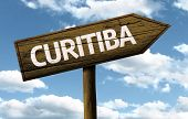 Curitiba, Brazil wooden sign on a beautiful day