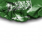 Saudi Arabia waving flag on white background