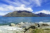 Wakatipu lake in Queenstown, New Zealand, South Island.