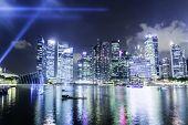 SINGAPORE - CIRCA MAY 2014: Skyline of Singapore at night.