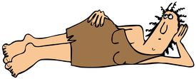 image of cave-dweller  - This illustration depicts a cave woman wearing an animal skin dress laying on her side and propping her head up - JPG
