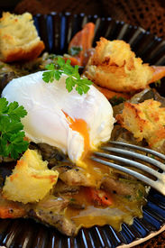 stock photo of posh  - mushroom ragout with poshed egg also croutons  - JPG