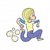 pic of gril  - cartoon woman running barefoot - JPG