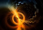 image of fiction  - Distant dynamic energy sphere energy vortex plasma clouds and particles space background abstract illustration - JPG