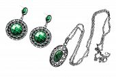 picture of malachite  - Set of vintage malachite pendant and earrings on white background - JPG