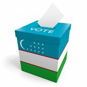 stock photo of ballot-paper  - A ballot box bearing the Uzbek flag - JPG