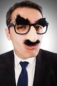 foto of eyebrows  - Funny businessman with eyebrows and moustache - JPG