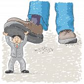 pic of stomp  - an illustration with foot stomping a man - JPG