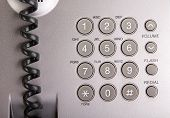 picture of keypad  - Office silver telephone keypad close up macro - JPG