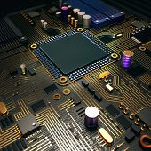 stock photo of transistor  - Electronic circuit chip on PC board - JPG